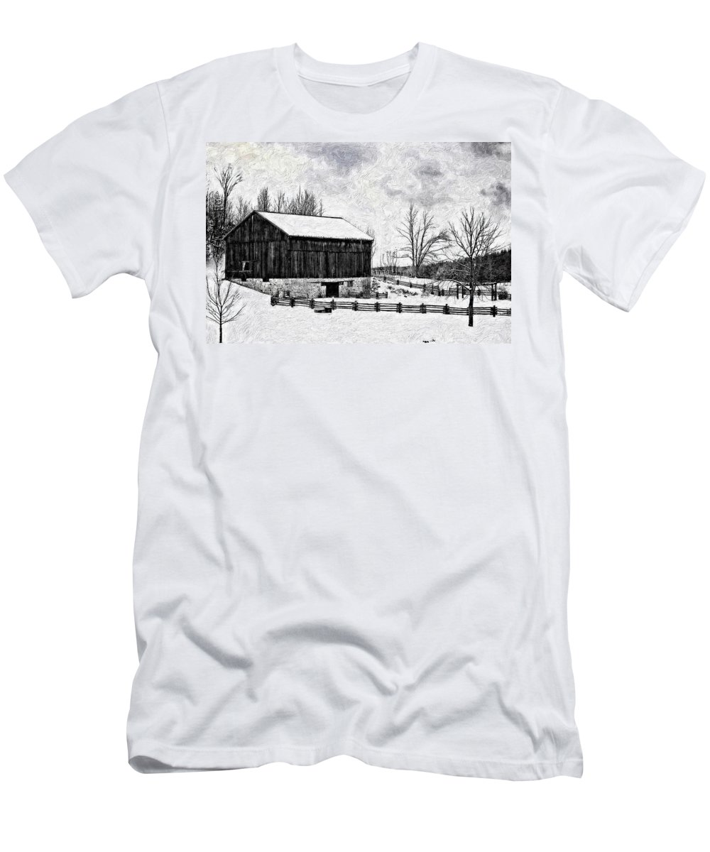 Barn Men's T-Shirt (Athletic Fit) featuring the photograph Winter Barn Impasto Version by Steve Harrington