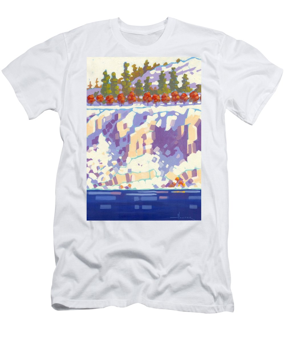 Landscape Men's T-Shirt (Athletic Fit) featuring the painting Winter Cliffs by Larry Hunter