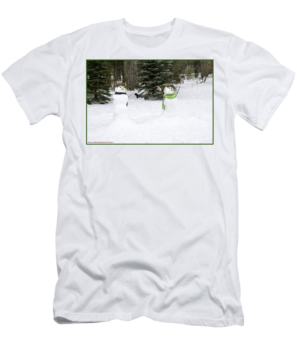 Snowman Men's T-Shirt (Athletic Fit) featuring the photograph Winter Dance Of The Snow People by LeeAnn McLaneGoetz McLaneGoetzStudioLLCcom