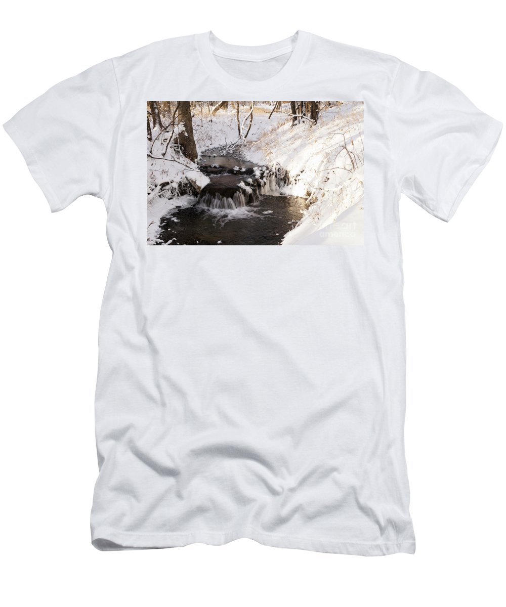 Waterfall Men's T-Shirt (Athletic Fit) featuring the photograph Winter Falls On Big Stone Lake by Lori Tordsen