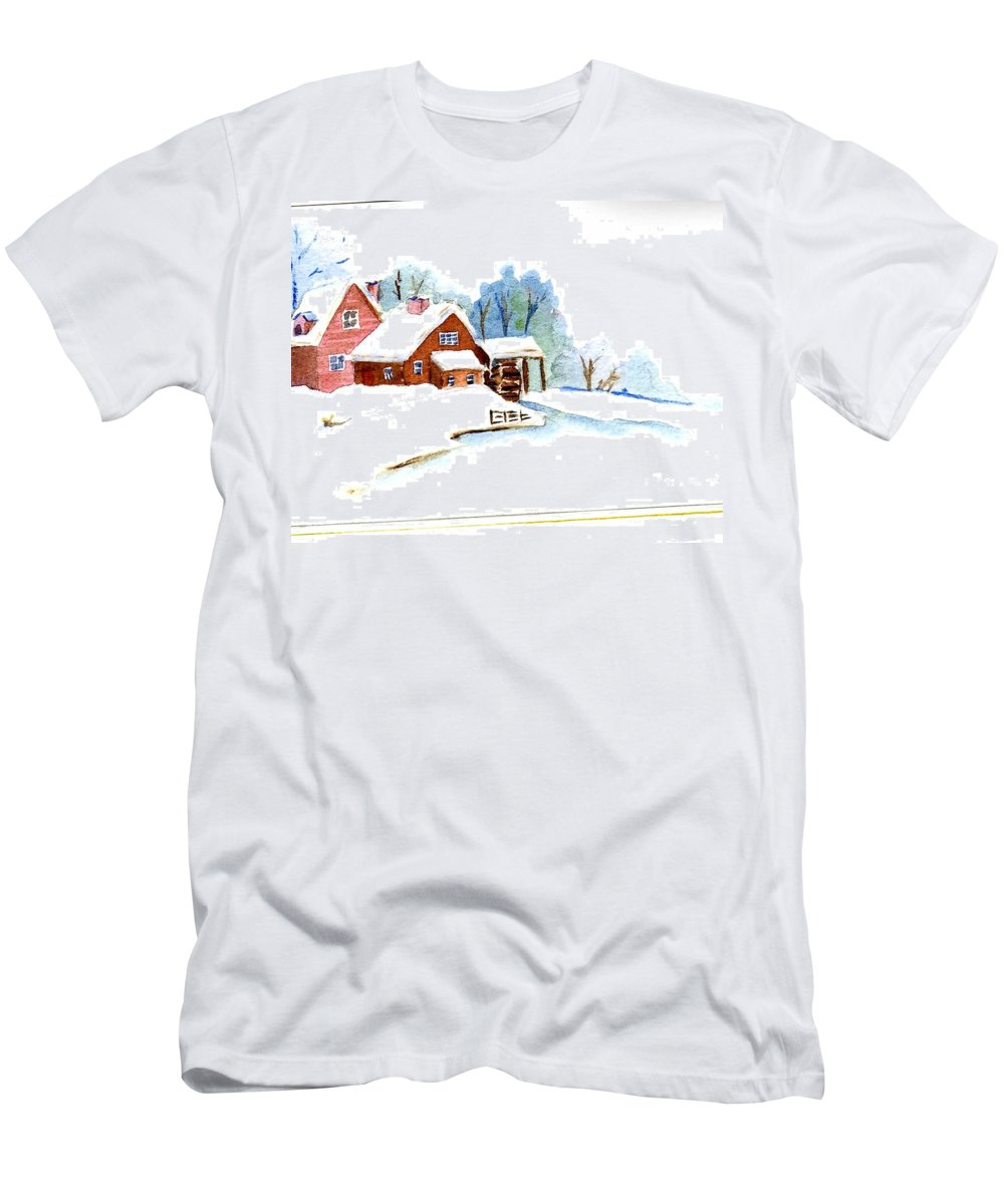 Shed Men's T-Shirt (Athletic Fit) featuring the painting Winter Habitat by Katherine Berlin