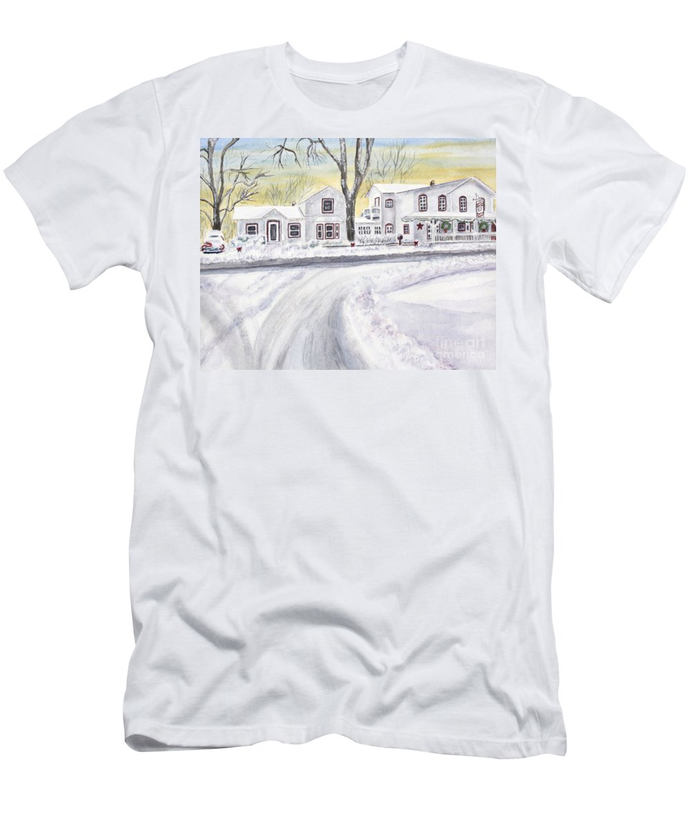 General Store Men's T-Shirt (Athletic Fit) featuring the painting Winter Holidays In Dixboro Mi by Kathryn Duncan