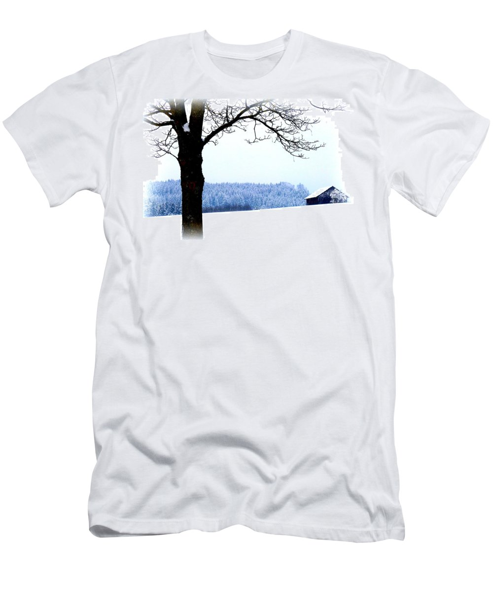 Winter Men's T-Shirt (Athletic Fit) featuring the photograph Winter Landscape In Bavaria by The Creative Minds Art and Photography