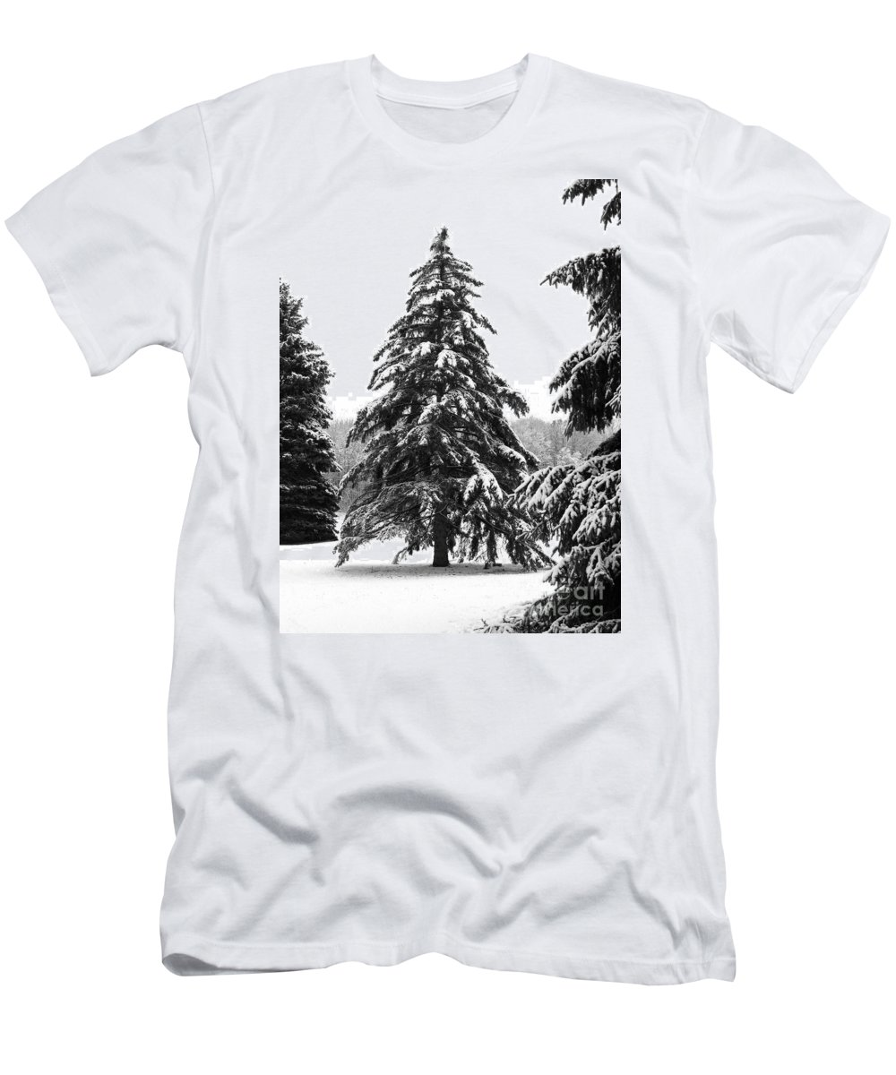 Winter Men's T-Shirt (Athletic Fit) featuring the photograph Winter Pines by Ann Horn