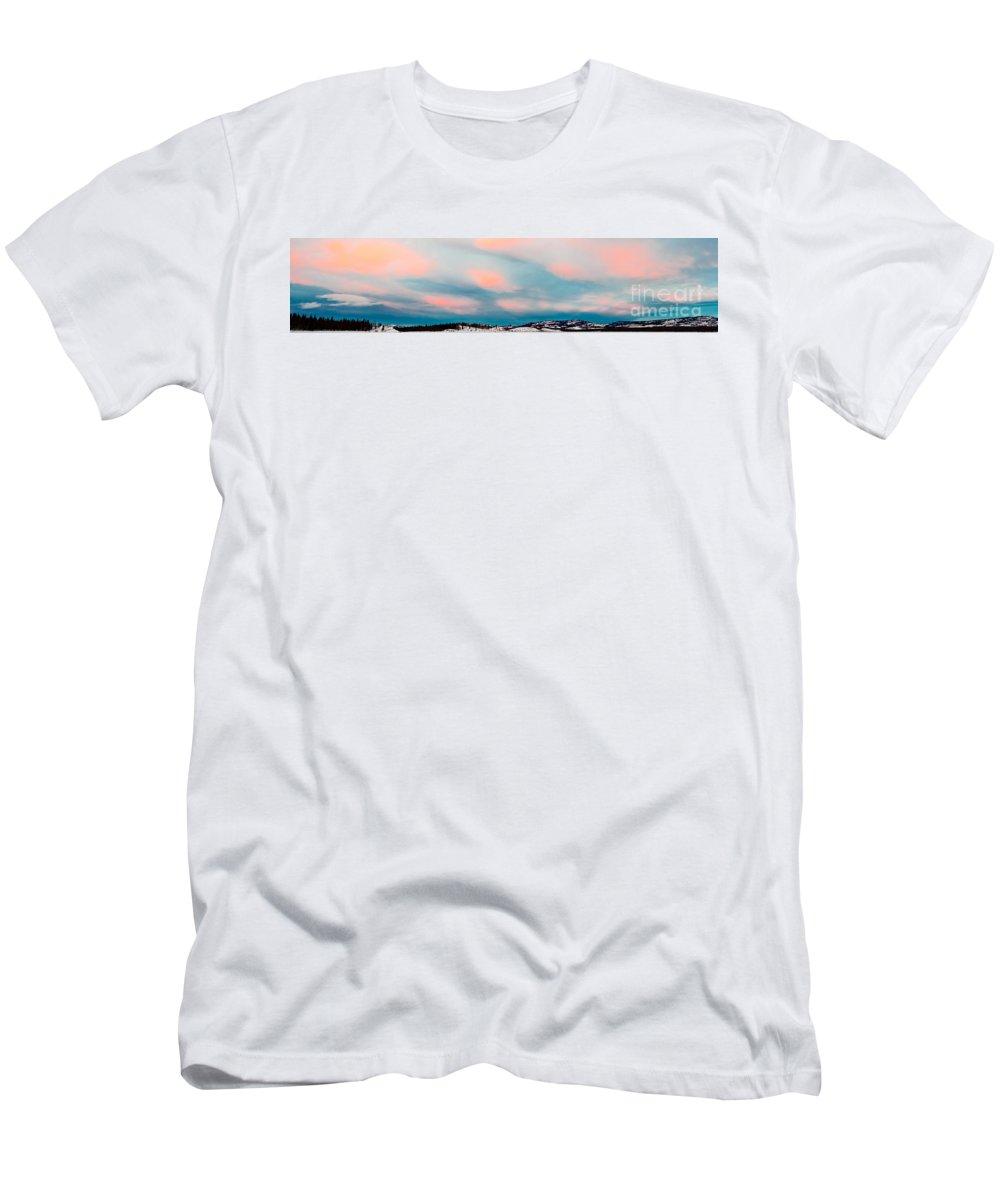 Blue Men's T-Shirt (Athletic Fit) featuring the photograph Winter Sky Over Lake Laberge by Stephan Pietzko