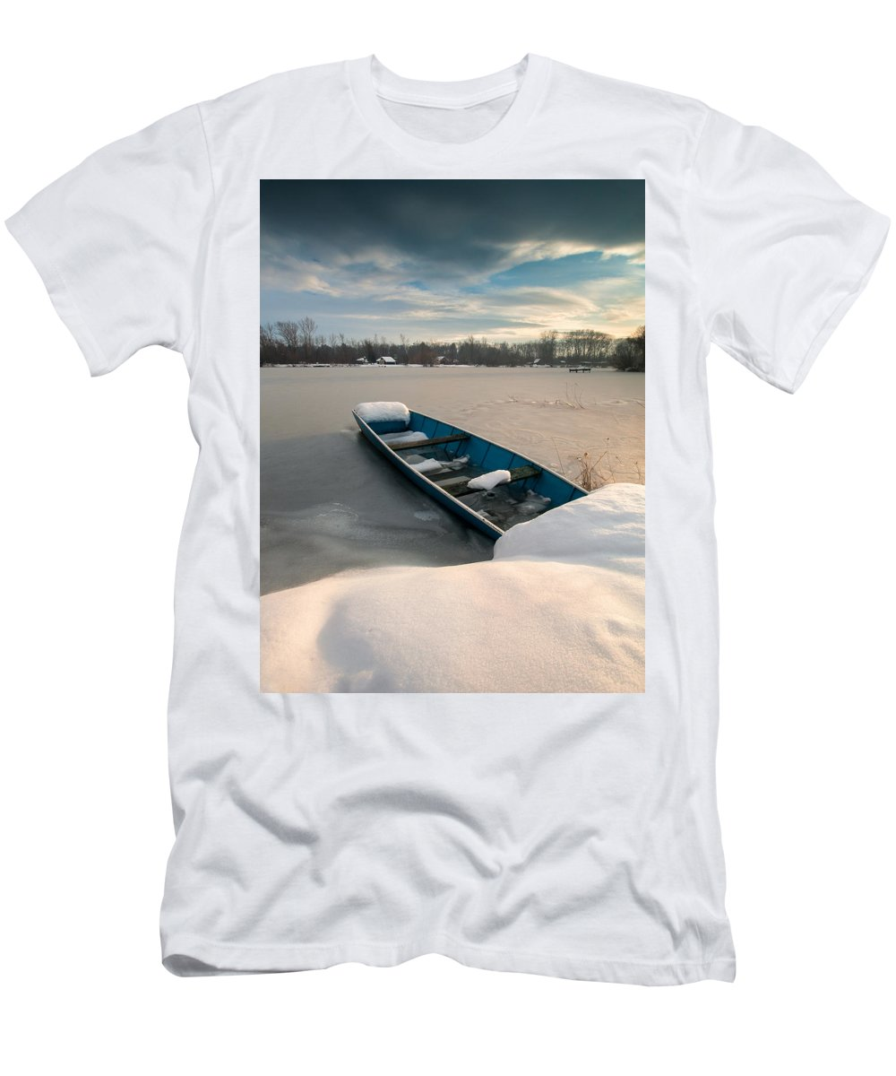 Landscapes Men's T-Shirt (Athletic Fit) featuring the photograph Winter Sleep by Davorin Mance