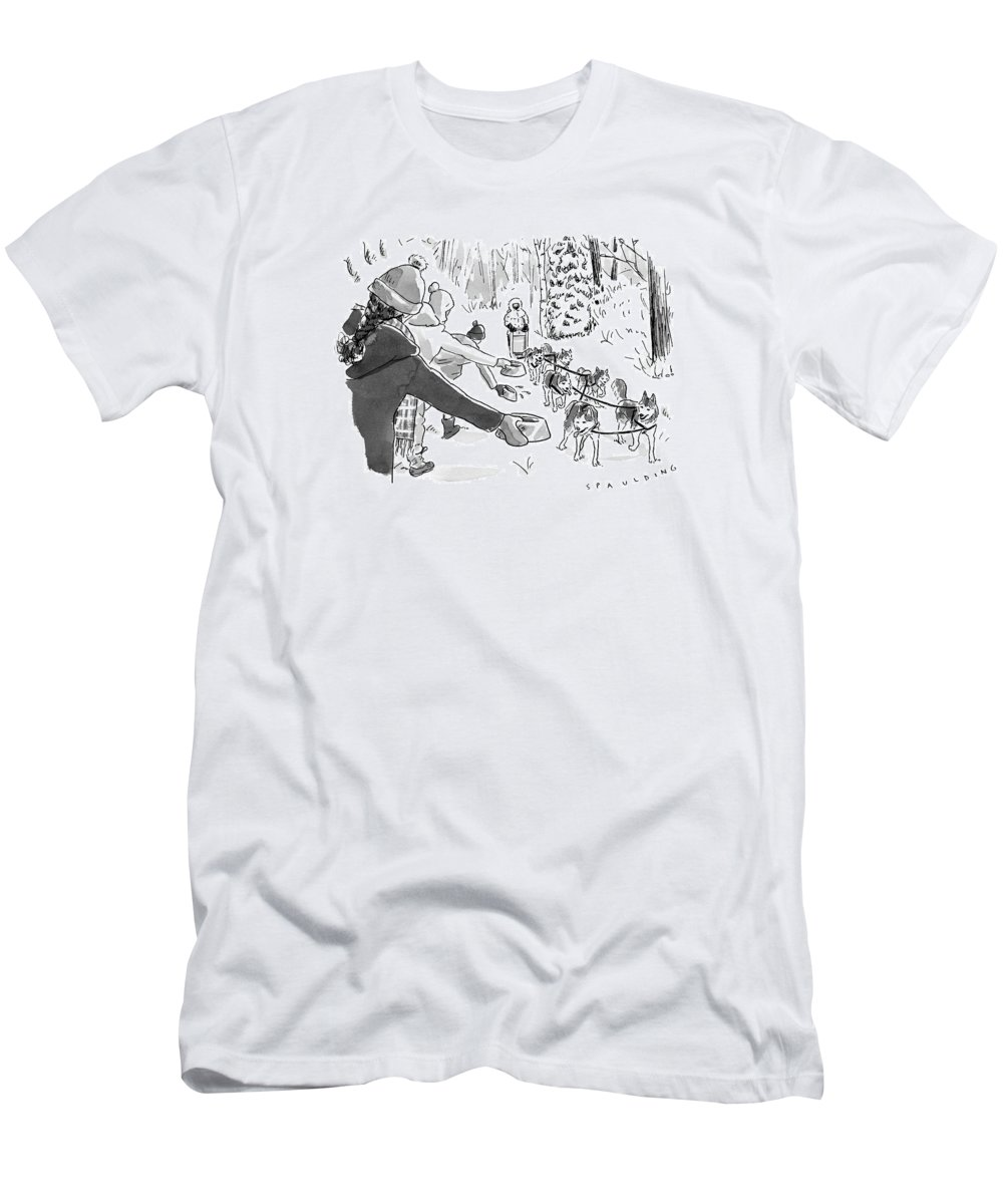 Captionless Marathon Men's T-Shirt (Athletic Fit) featuring the drawing Winter Suited Volunteers Hold Out Dog Dishes by Trevor Spaulding