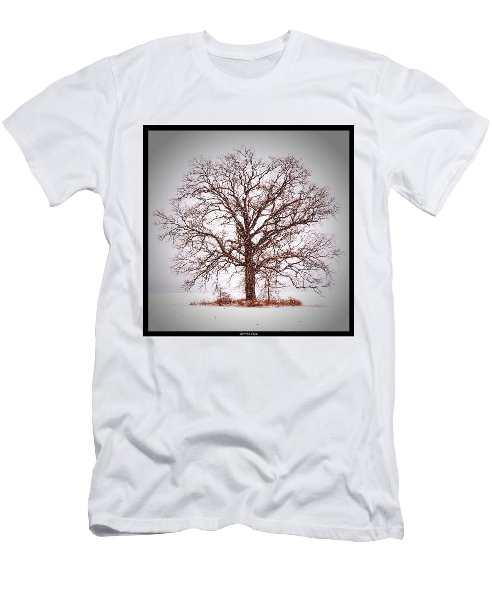 Tree Men's T-Shirt (Athletic Fit) featuring the photograph Winter Tree 8x10 Crop With White Bars by Gene Tatroe