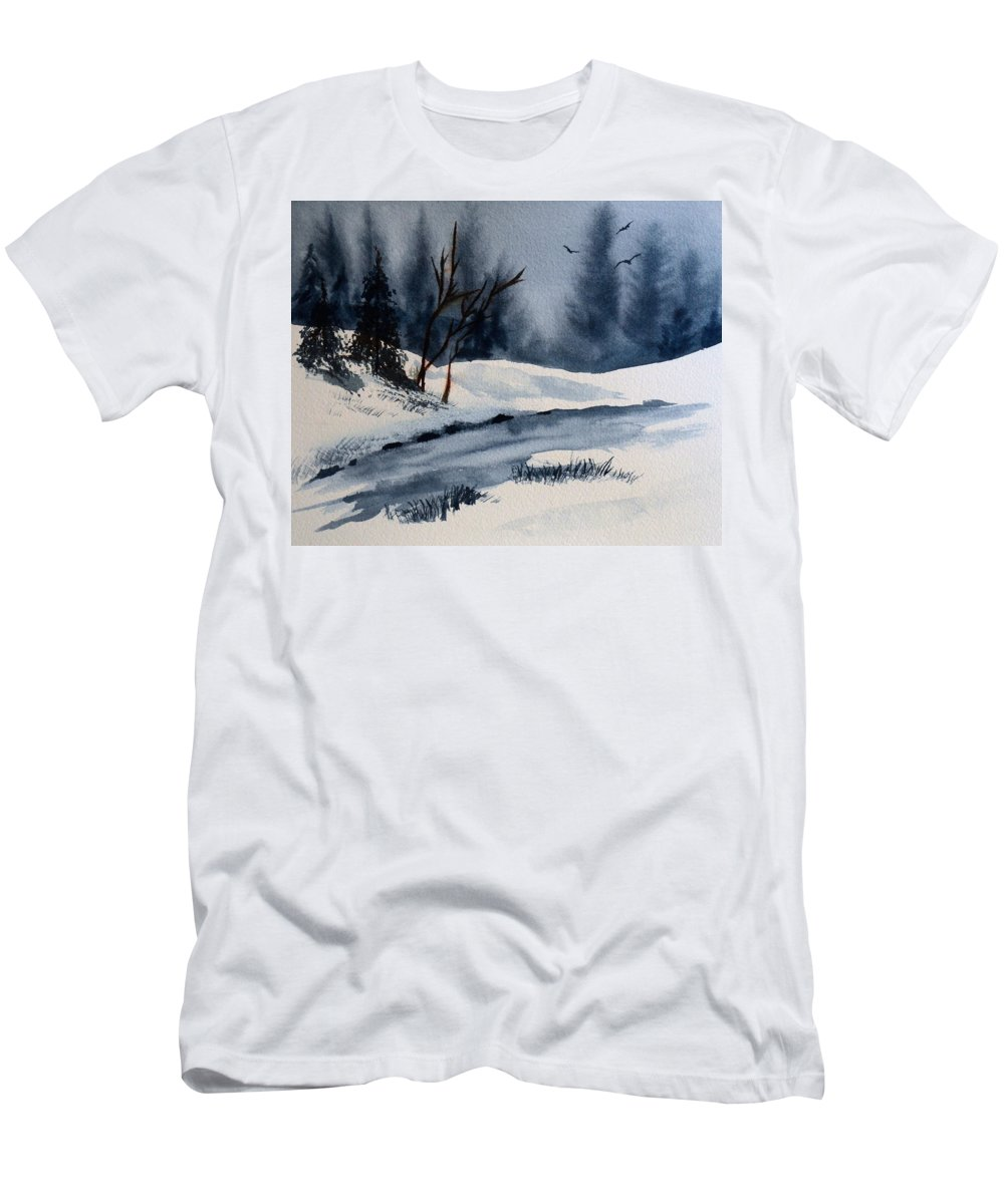 Winter Men's T-Shirt (Athletic Fit) featuring the painting Winter by Wade Binford