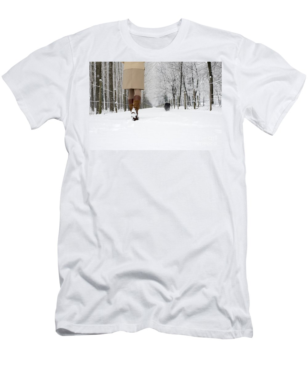 Woman Men's T-Shirt (Athletic Fit) featuring the photograph Winter Walk by Mats Silvan