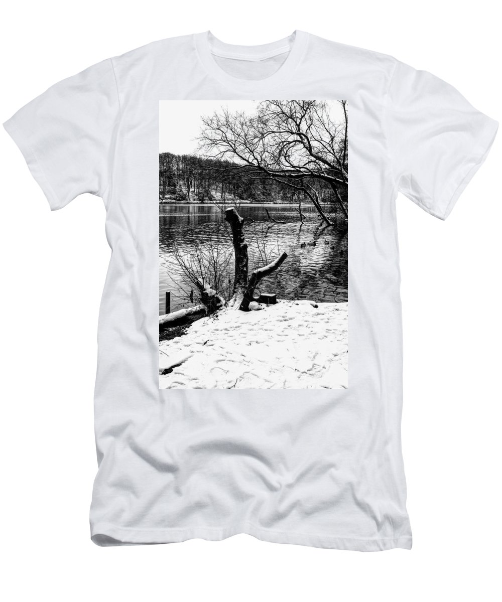 Snow Men's T-Shirt (Athletic Fit) featuring the photograph Winter Waterscape by Nick Field