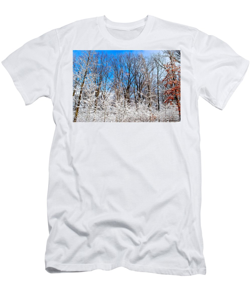 Winter Men's T-Shirt (Athletic Fit) featuring the photograph Winter Wonderland by Frozen in Time Fine Art Photography