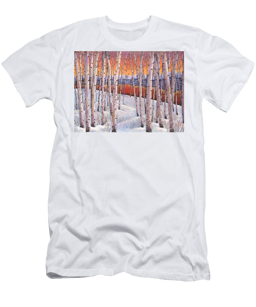 Autumn Aspen T-Shirt featuring the painting Winter's Dream by Johnathan Harris