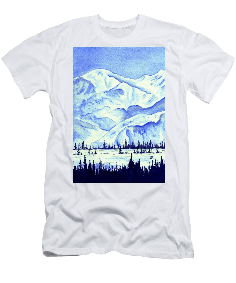 Landscape Men's T-Shirt (Athletic Fit) featuring the painting Winter's White Blanket by Brenda Owen
