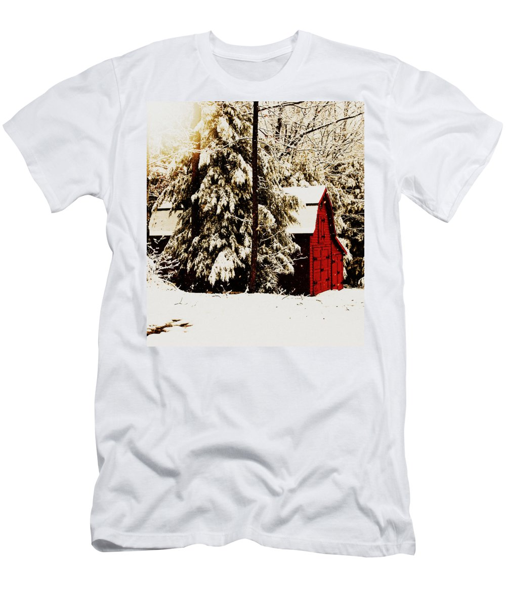 Red Barn Men's T-Shirt (Athletic Fit) featuring the photograph Wintry Red Barn by Chastity Hoff