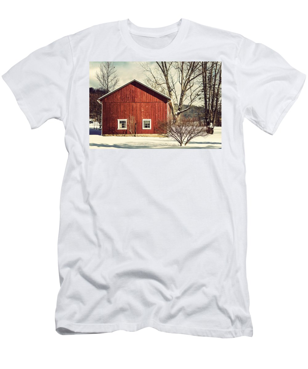Red Barn Men's T-Shirt (Athletic Fit) featuring the photograph Wise Old Barn Winter Time by Joshua Zaring