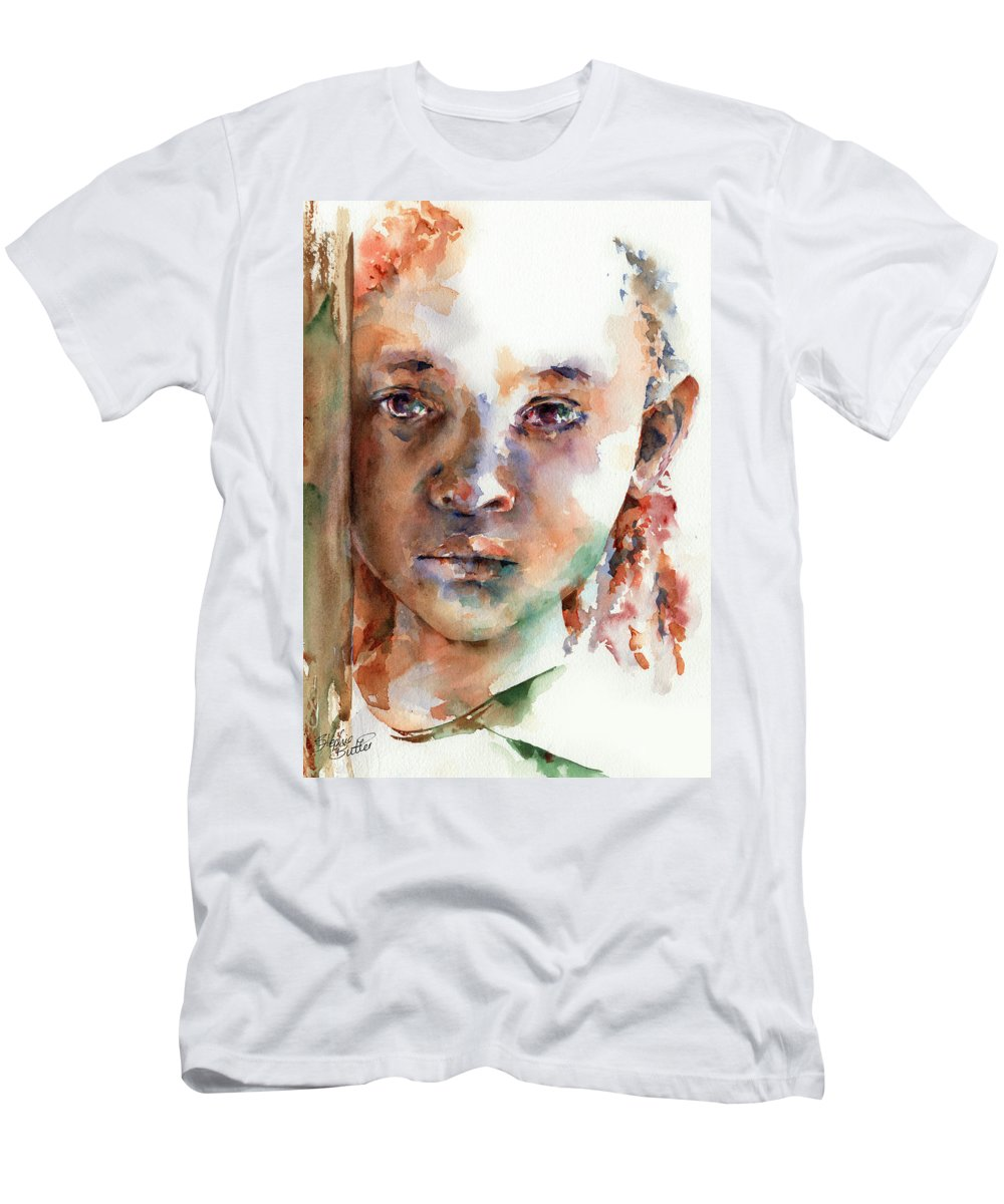 Girl Men's T-Shirt (Athletic Fit) featuring the painting Wistful by Stephie Butler