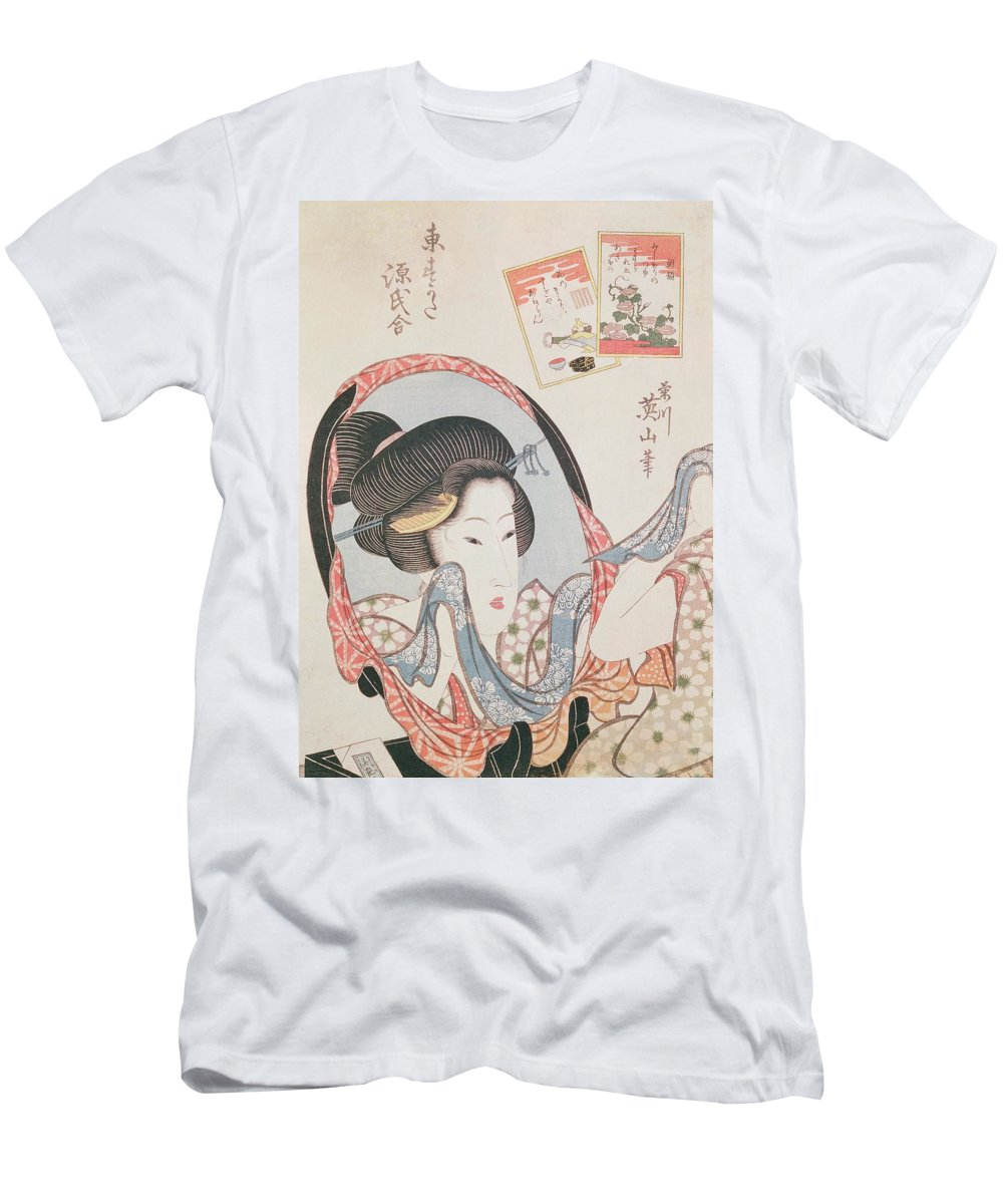 Female Men's T-Shirt (Athletic Fit) featuring the painting Woman At Her Mirror by Kitugawa Eizan