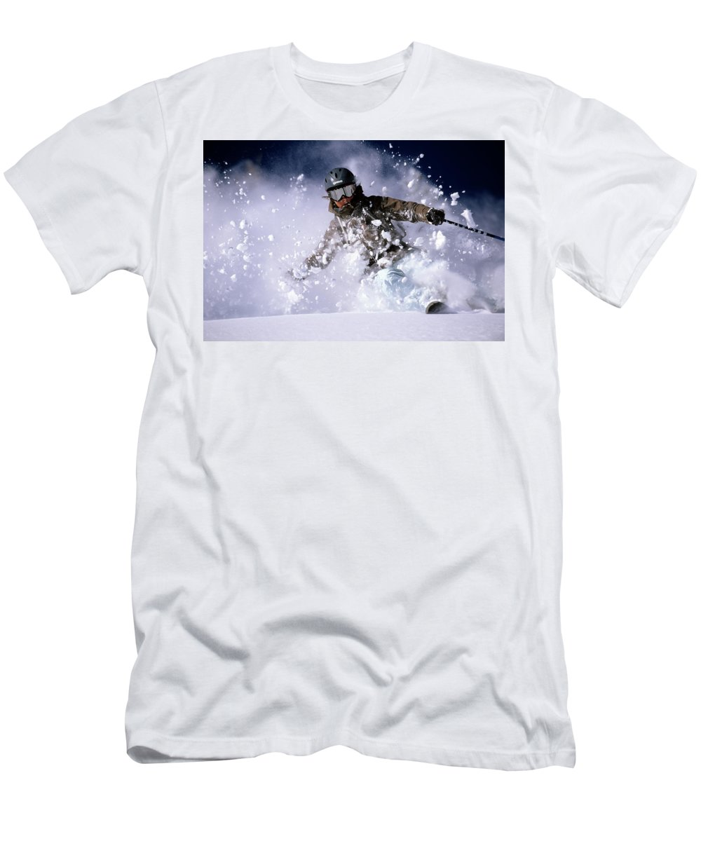Action T-Shirt featuring the photograph Woman Skiing Powder In The Wasatch by Scott Markewitz