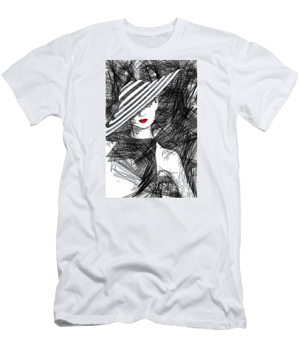 Woman Men's T-Shirt (Athletic Fit) featuring the digital art Woman With A Hat by Rafael Salazar