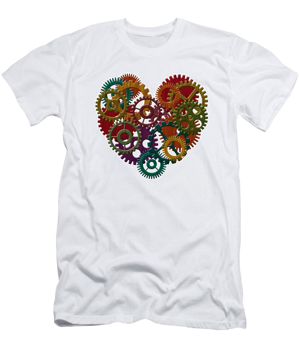 Heart Men's T-Shirt (Athletic Fit) featuring the photograph Wooden Gears Forming Heart Shape Illustration by Jit Lim