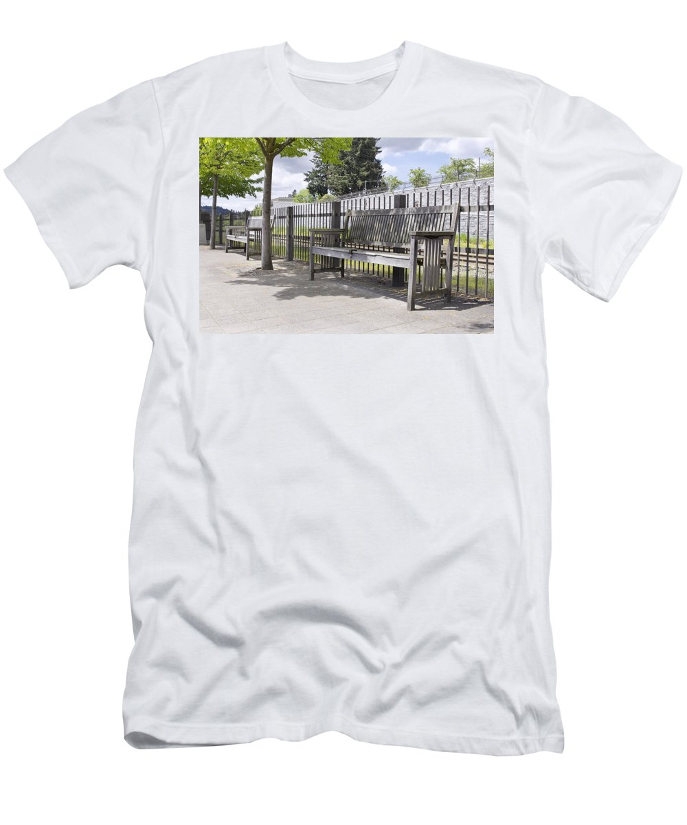 Wooden Men's T-Shirt (Athletic Fit) featuring the photograph Wooden Park Benches by Jit Lim