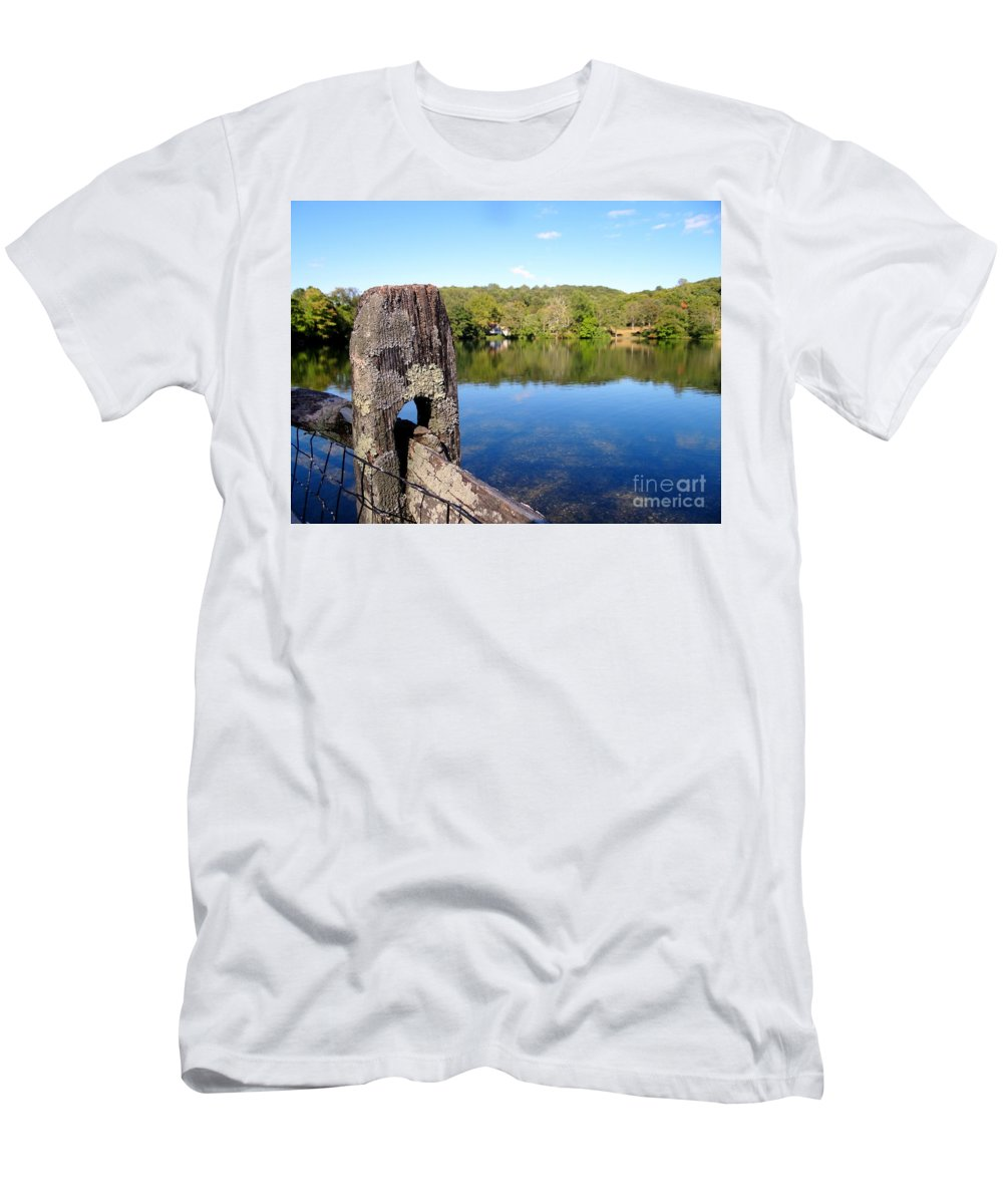 Fencepost Men's T-Shirt (Athletic Fit) featuring the photograph Wooden Post by Ed Weidman