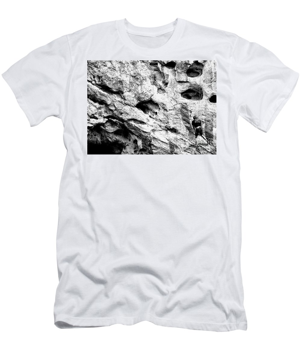 Digital Black And White Photo Men's T-Shirt (Athletic Fit) featuring the digital art Working To The Left by Tim Richards