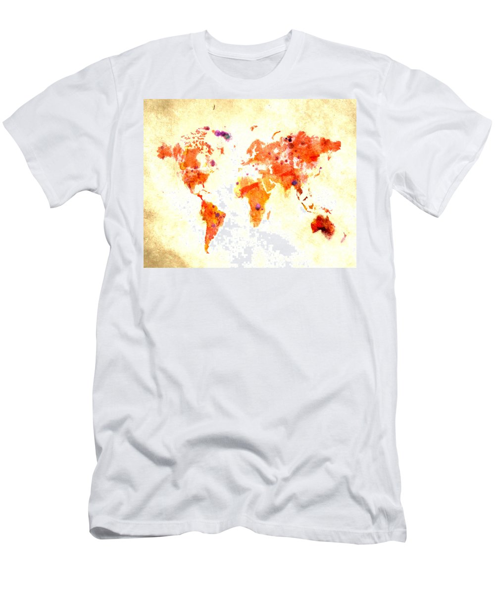 World Men's T-Shirt (Athletic Fit) featuring the digital art World Map 2d by Brian Reaves
