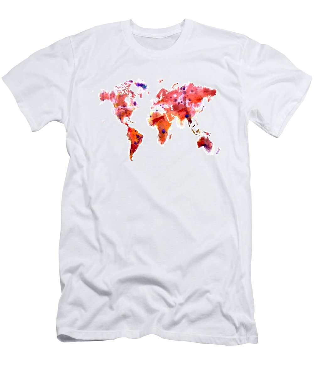 World Men's T-Shirt (Athletic Fit) featuring the digital art World Map 2f by Brian Reaves