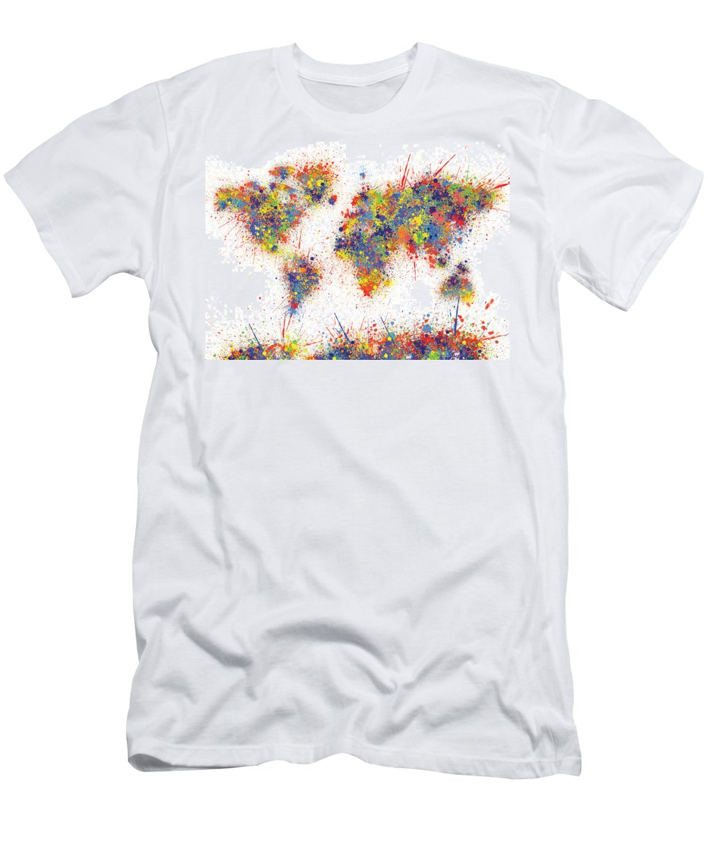 World Map Brush Paint Splatter T-Shirt