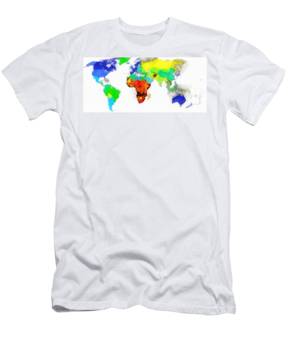 Map Of The World Digital Art Men's T-Shirt (Athletic Fit) featuring the digital art World Map Wathercolor by Galeria Trompiz