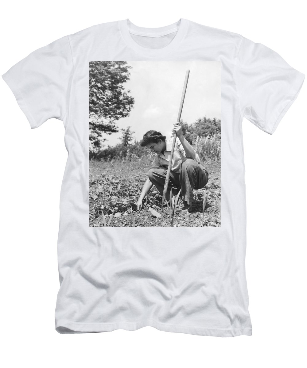 1 Person Men's T-Shirt (Athletic Fit) featuring the photograph Wwii Victory Garden by Underwood Archives