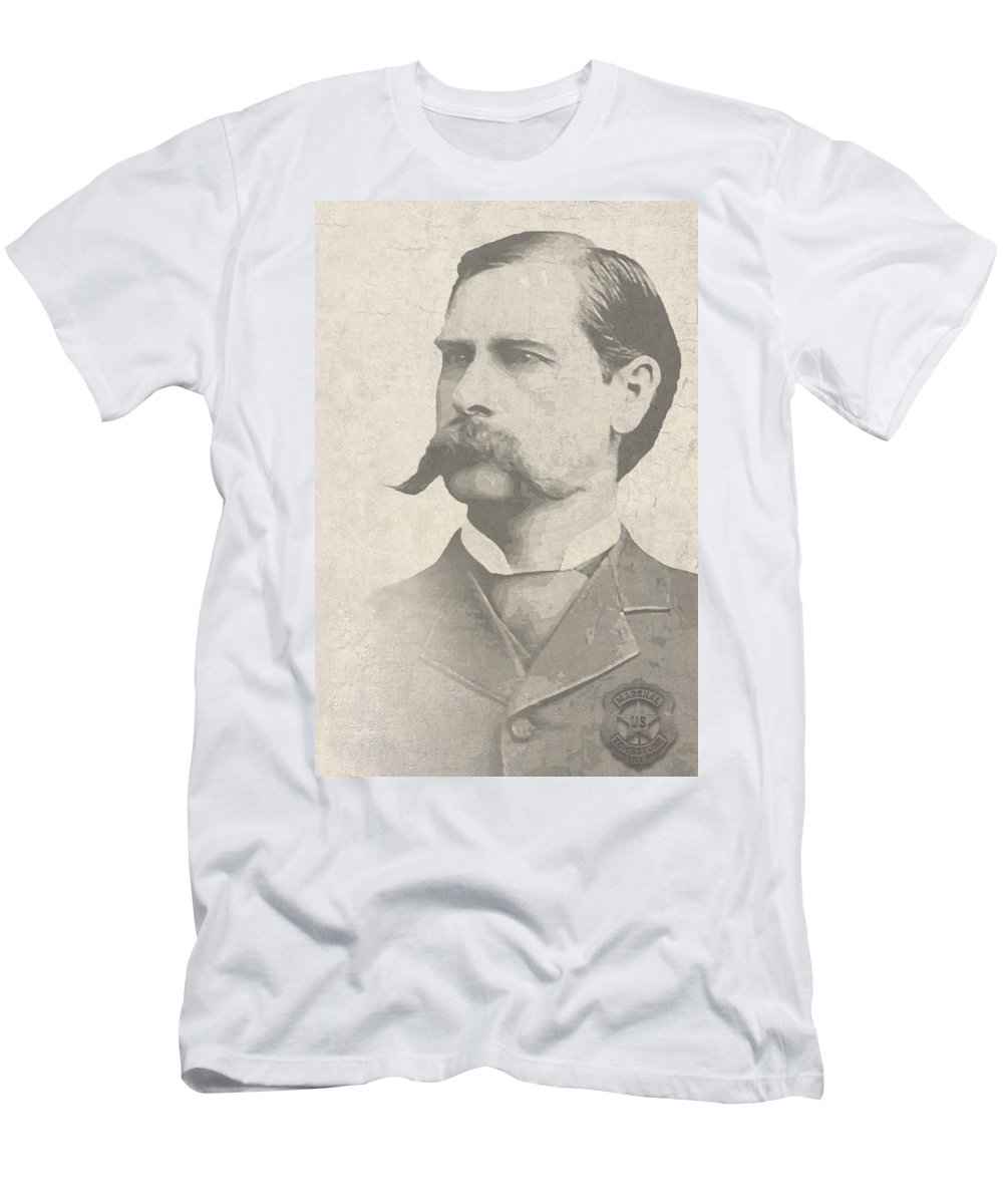 ok Corral Men's T-Shirt (Athletic Fit) featuring the digital art Wyatt Earp U. S. Marshal by Daniel Hagerman