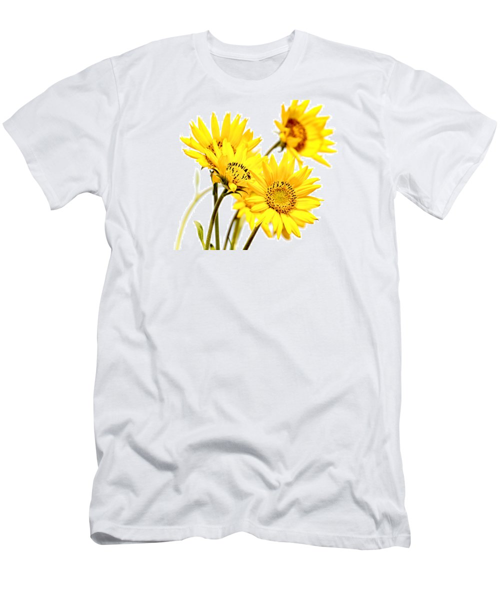 Daisies Men's T-Shirt (Athletic Fit) featuring the photograph Yellow Country Wildflowers by Athena Mckinzie
