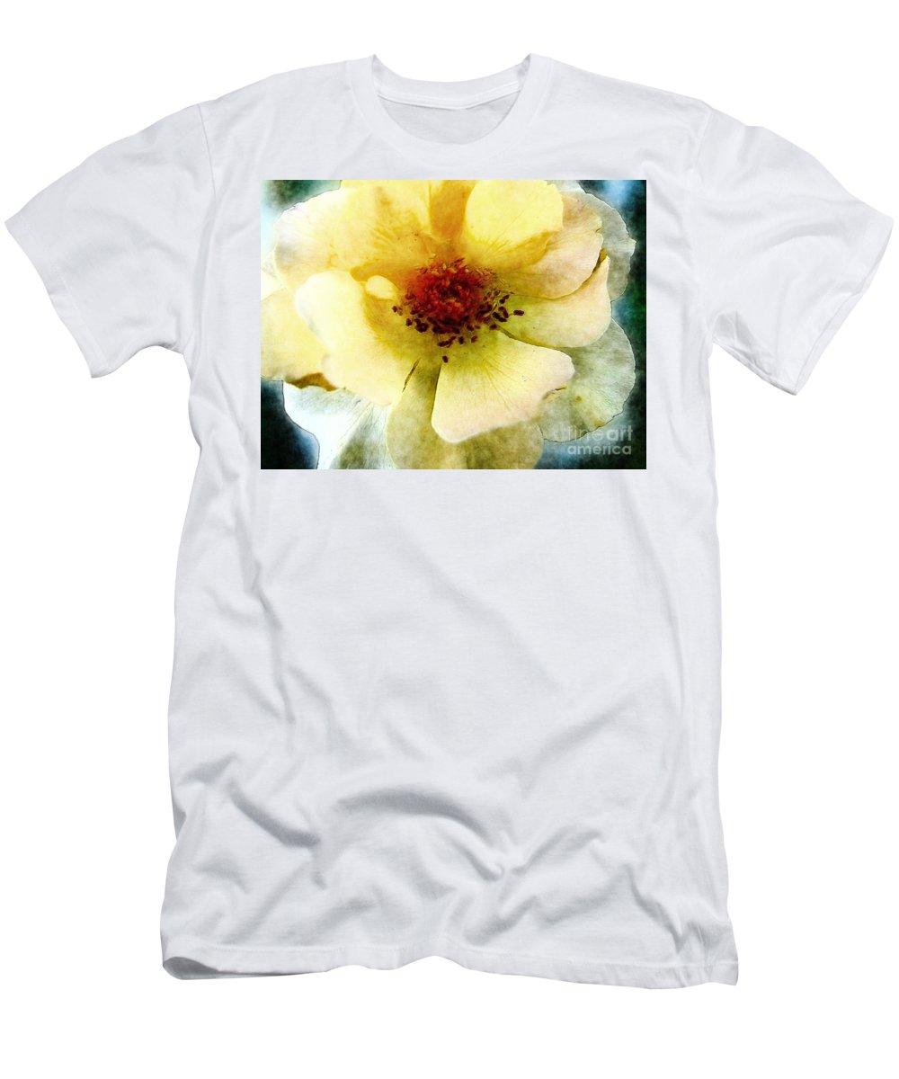 Nature Men's T-Shirt (Athletic Fit) featuring the digital art Yellow Rose Painted by Debbie Portwood