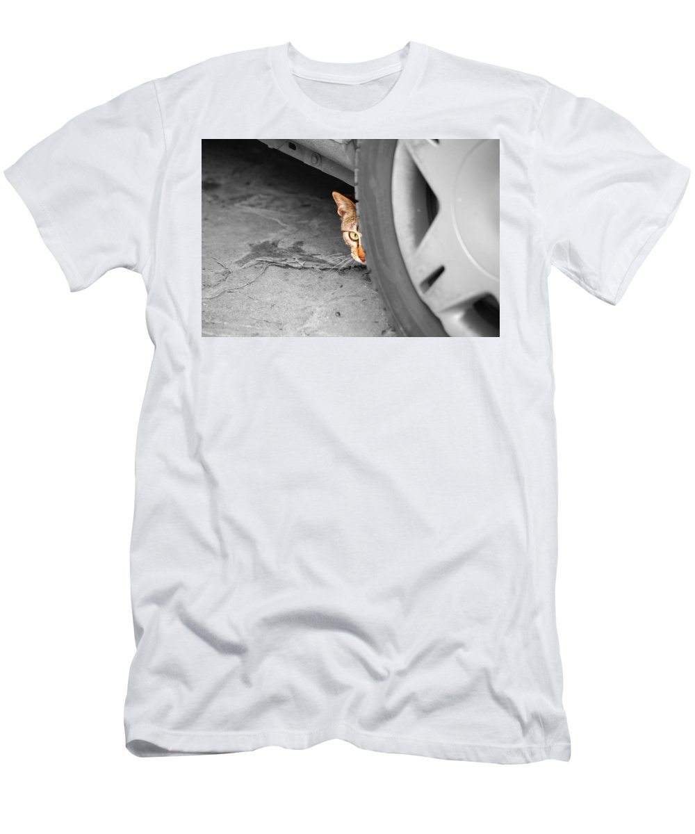 Cat Men's T-Shirt (Athletic Fit) featuring the photograph You Can't See Me by Andrea Mazzocchetti