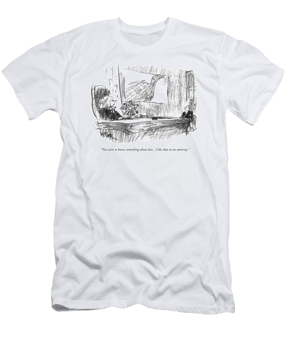 Lawyers Men's T-Shirt (Athletic Fit) featuring the drawing You Seem To Know Something About Law. I Like by Robert Weber