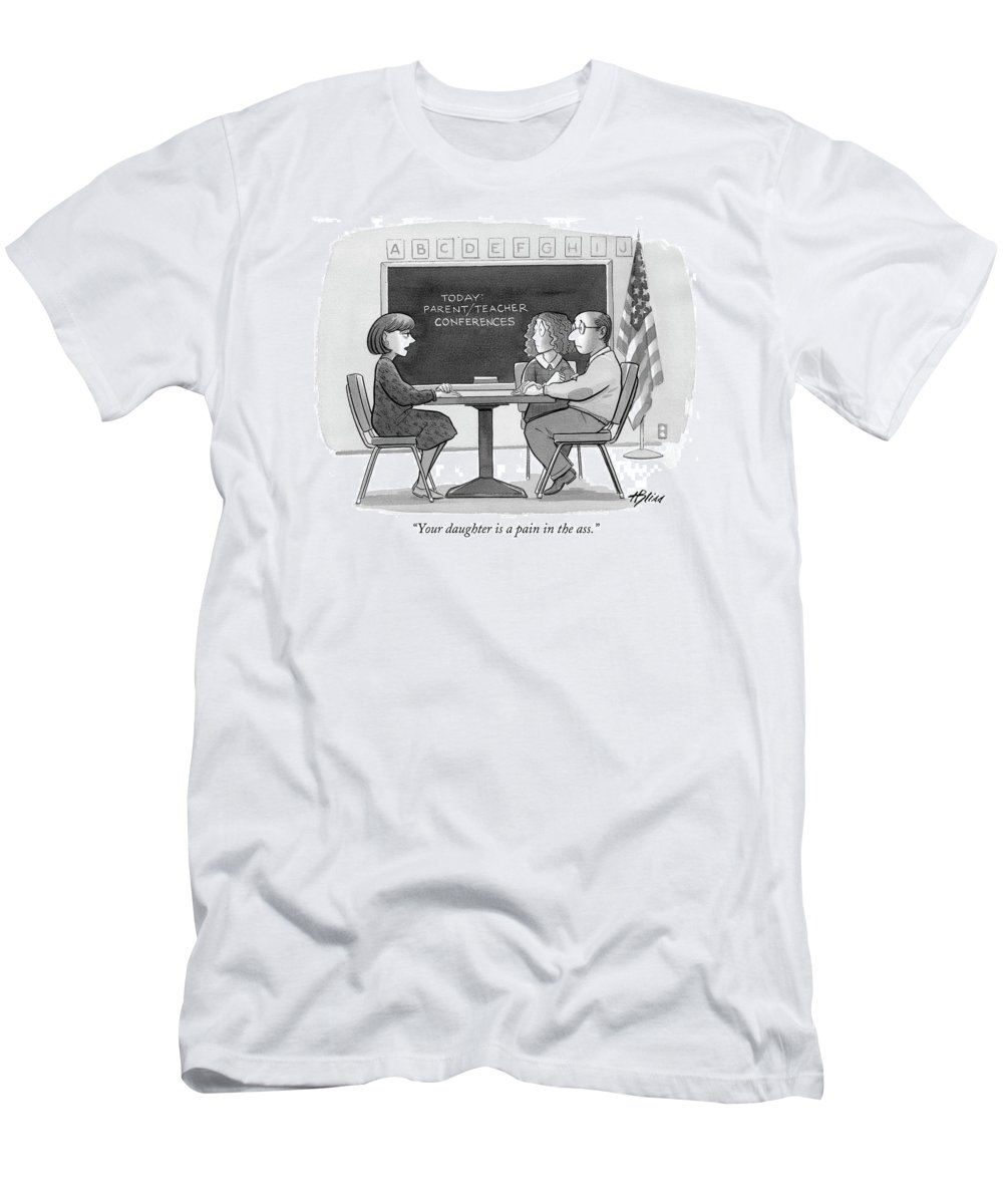 (teacher Talking To Couple In Classroom.)children Men's T-Shirt (Athletic Fit) featuring the drawing Your Daughter Is A Pain In The Ass by Harry Bliss