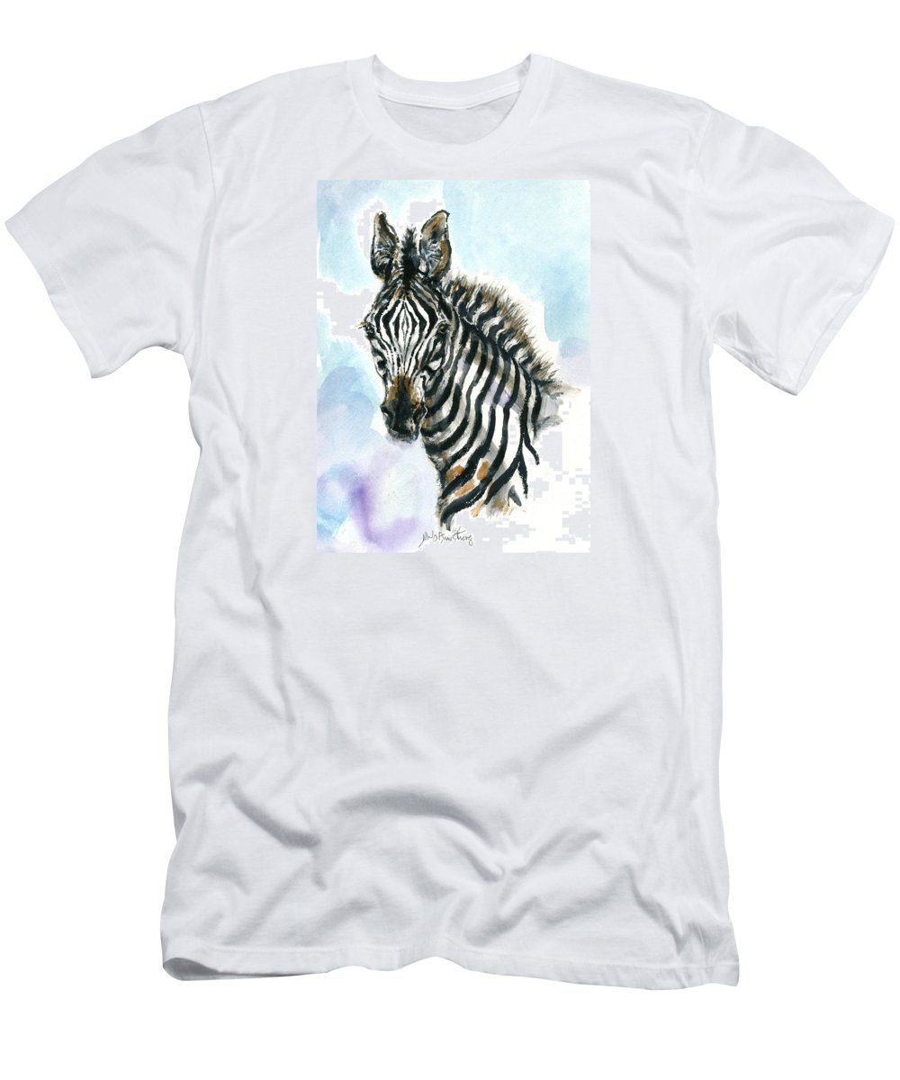 Mary Ogden Armstrong Men's T-Shirt (Athletic Fit) featuring the painting Zebra 1 by Mary Armstrong