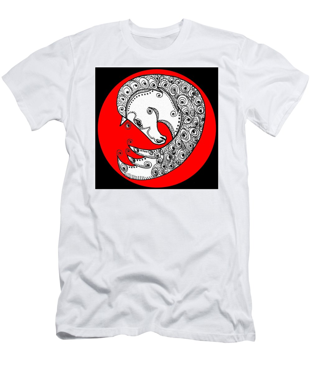 Horse Men's T-Shirt (Athletic Fit) featuring the digital art Zen Horse White by Shannon Story