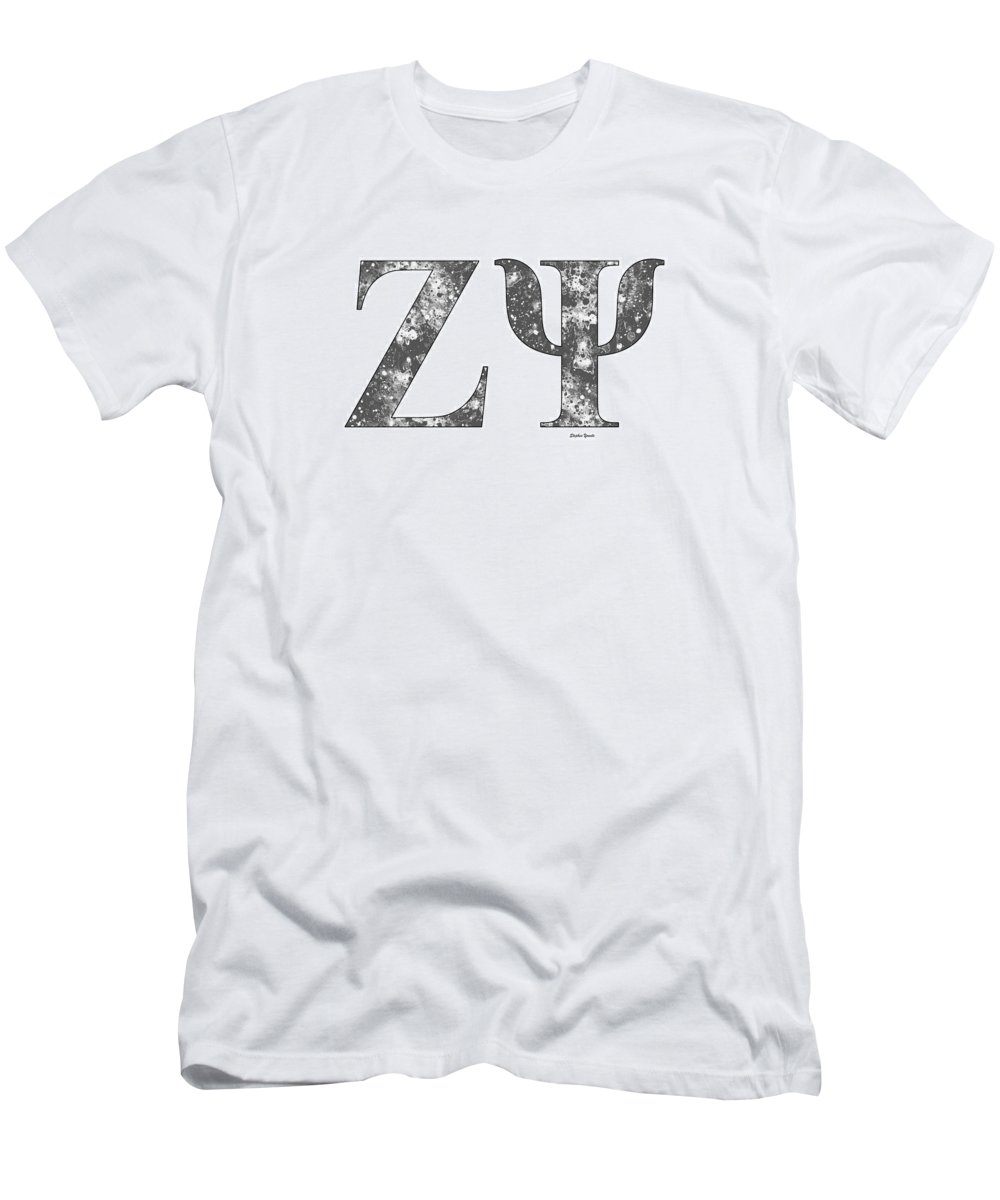 Zeta Psi Men's T-Shirt (Athletic Fit) featuring the digital art Zeta Psi - White by Stephen Younts