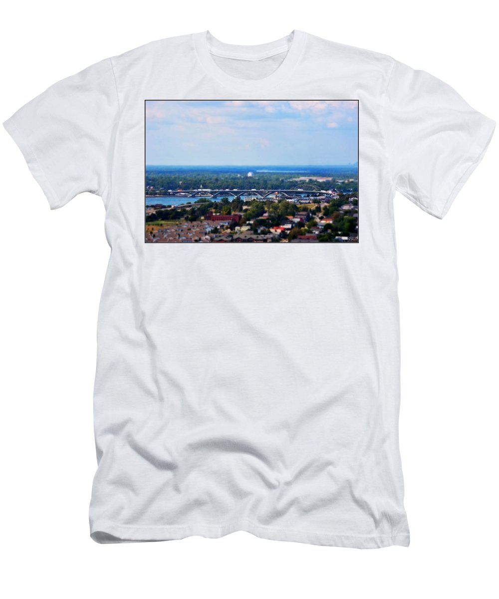 Men's T-Shirt (Athletic Fit) featuring the photograph 01 Toy Peace Bridge by Michael Frank Jr