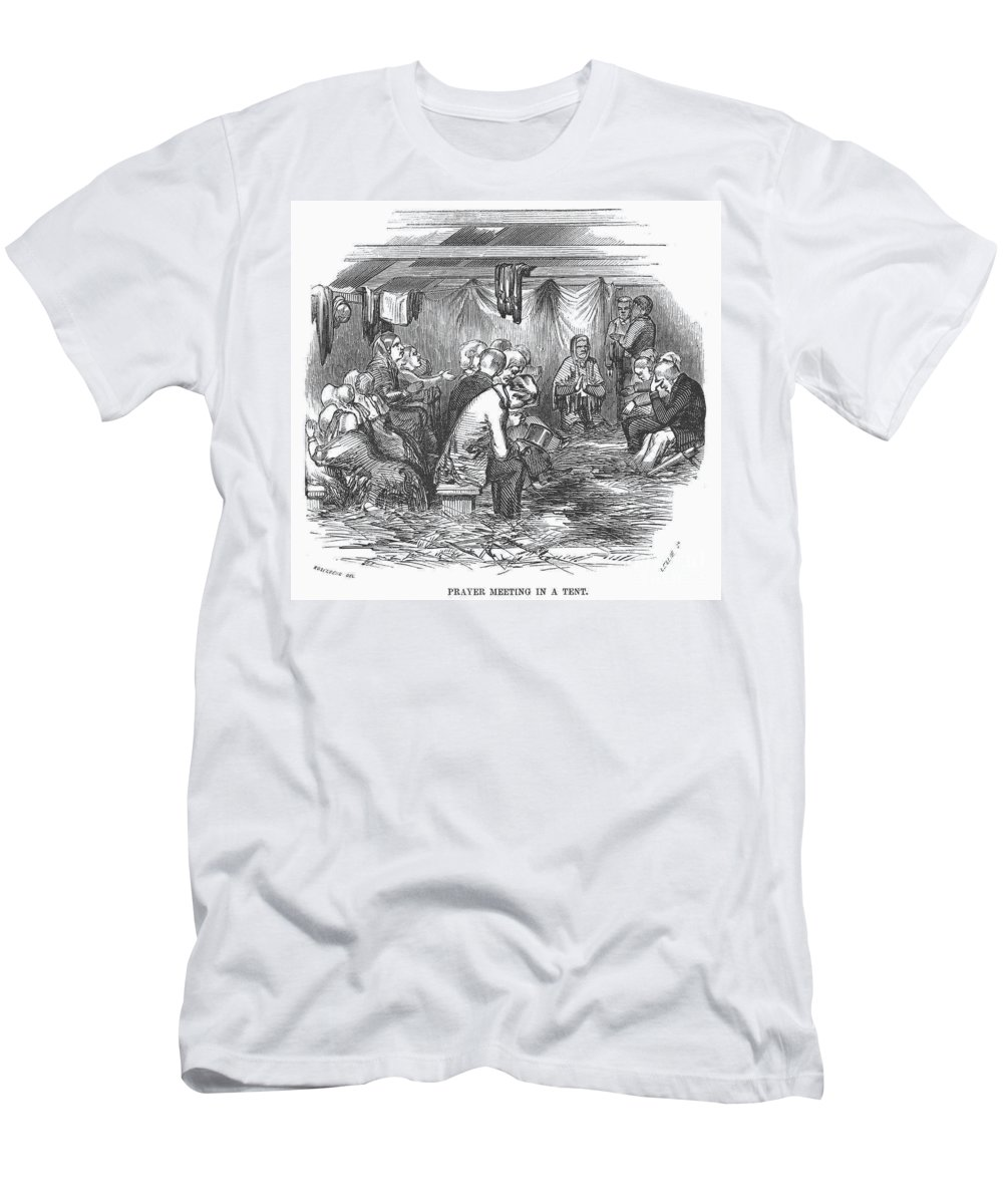 1852 Men's T-Shirt (Athletic Fit) featuring the photograph Camp Meeting, 1852 by Granger