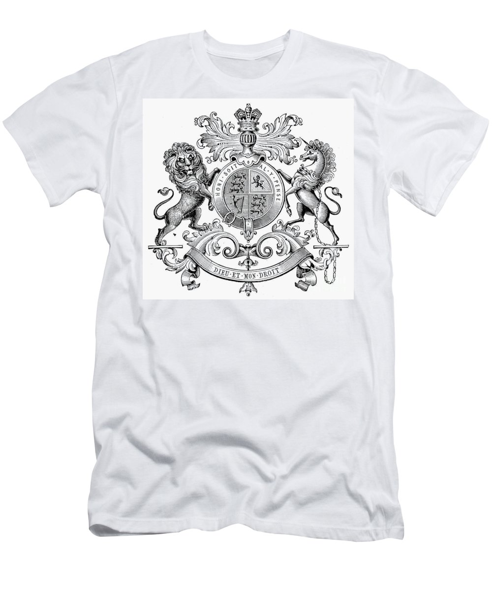 19th Century Men's T-Shirt (Athletic Fit) featuring the photograph Coat Of Arms: Great Britain by Granger