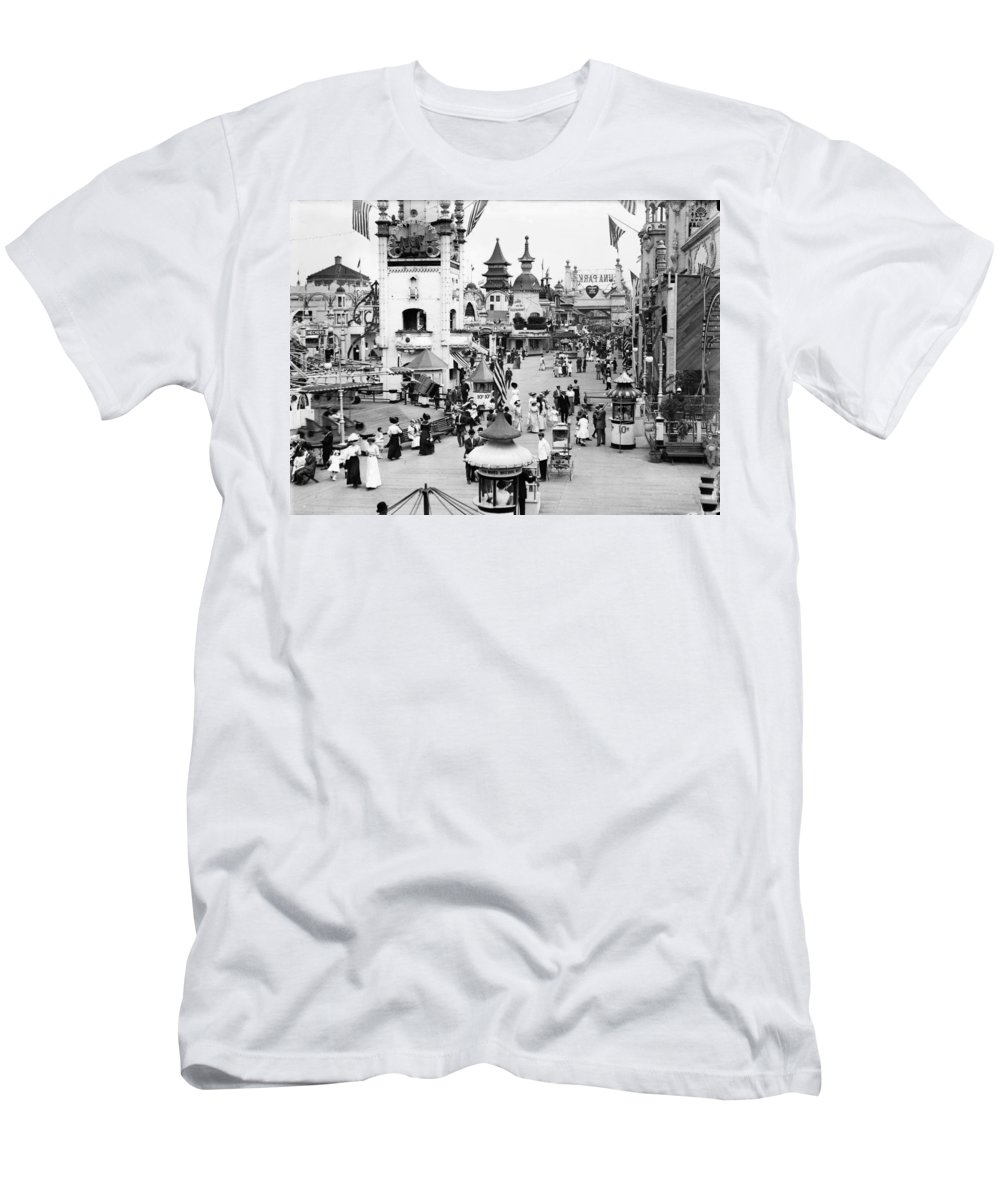 1910 Men's T-Shirt (Athletic Fit) featuring the photograph Coney Island: Luna Park by Granger
