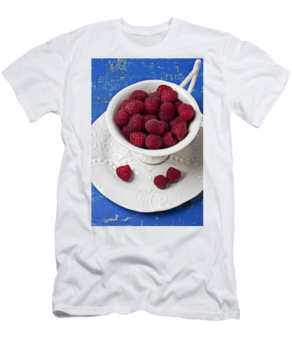 Raspberries Fruit Cup Food Berry Men's T-Shirt (Athletic Fit) featuring the photograph Cup Full Of Raspberries by Garry Gay