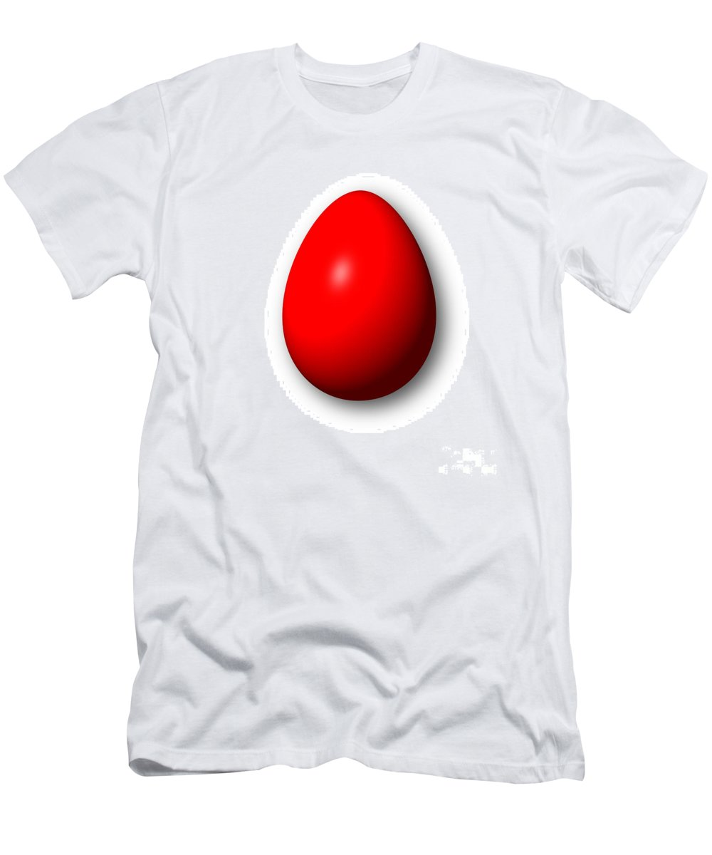 Red Men's T-Shirt (Athletic Fit) featuring the digital art Egg Red by Henrik Lehnerer