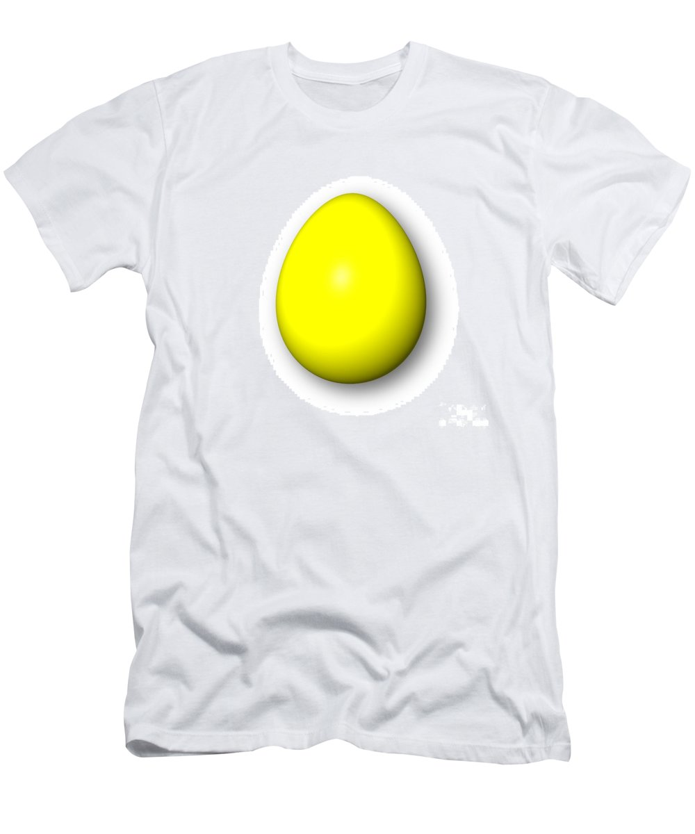 Yellow Men's T-Shirt (Athletic Fit) featuring the digital art Egg Yellow by Henrik Lehnerer