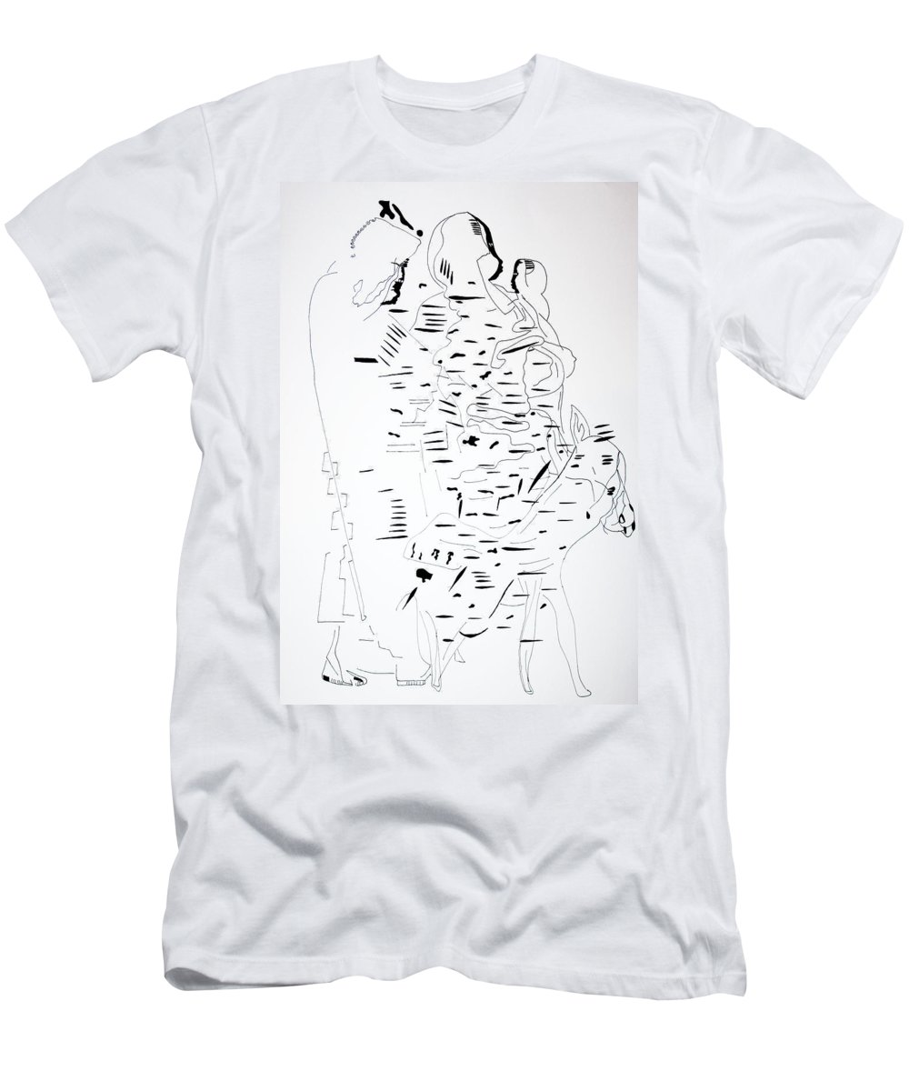 Jesus Men's T-Shirt (Athletic Fit) featuring the drawing Flight Into Egypt by Gloria Ssali